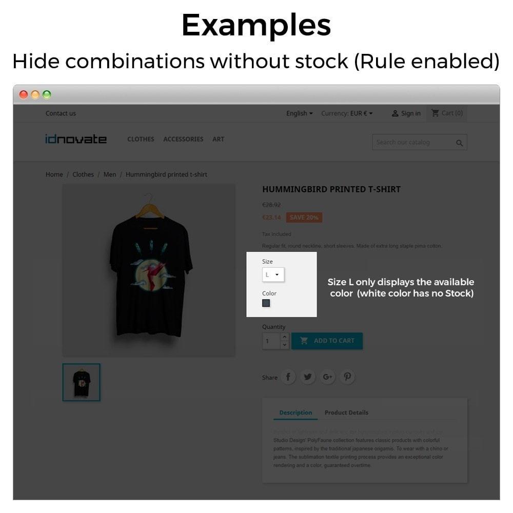 module - Combinaciones y Personalización de productos - Ocultar o mostrar atributos y combinaciones - 12