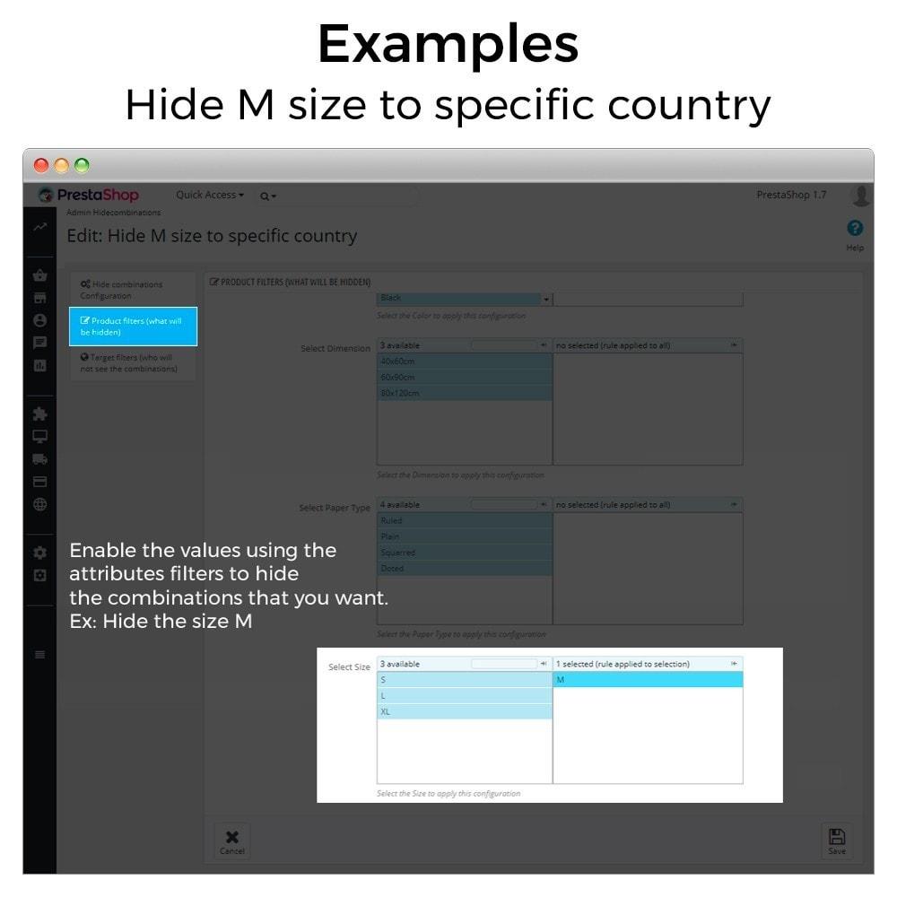 module - Combinaciones y Personalización de productos - Ocultar o mostrar atributos y combinaciones - 13