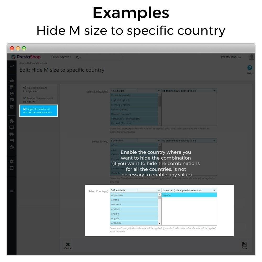 module - Combinaciones y Personalización de productos - Ocultar o mostrar atributos y combinaciones - 14