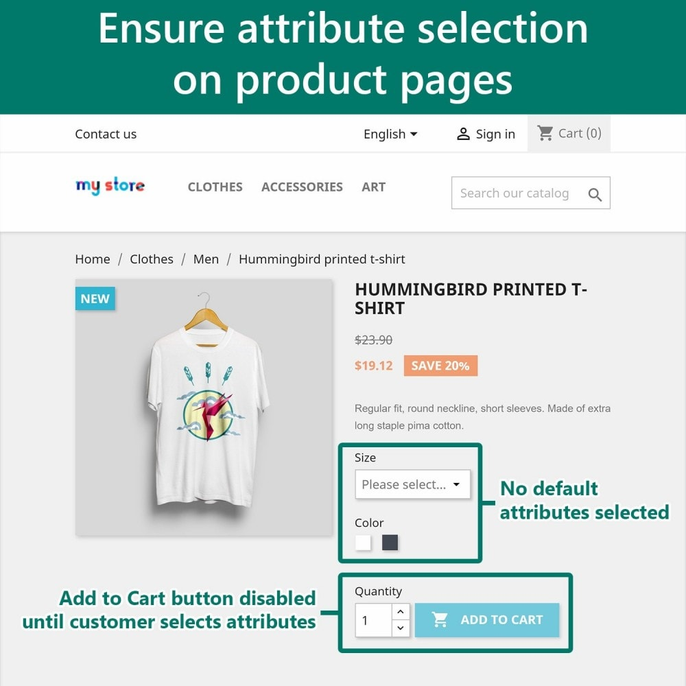 module - Вариаций и персонализации товаров - Require Attribute Selection - 2