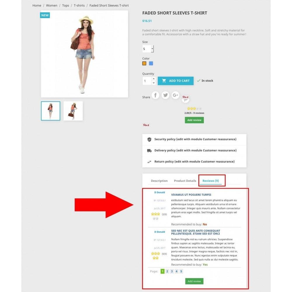 module - Comentarios de clientes - Product reviews simple + - 2