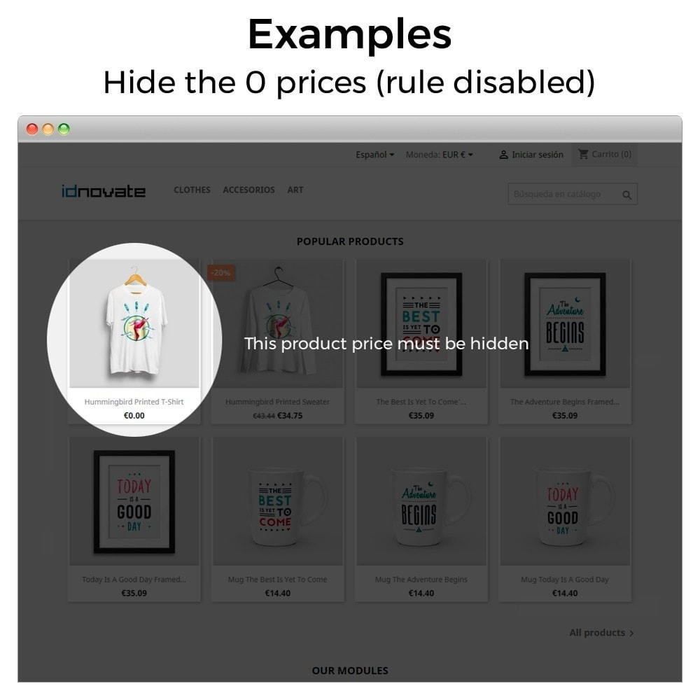 module - Управление ценами - Hide or show price and disallow purchase - 8