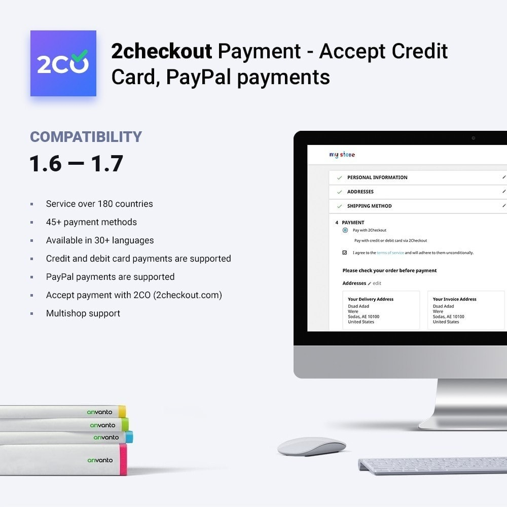 module - Bestelproces - 2checkout payment - accept credit card, PayPal payments - 1