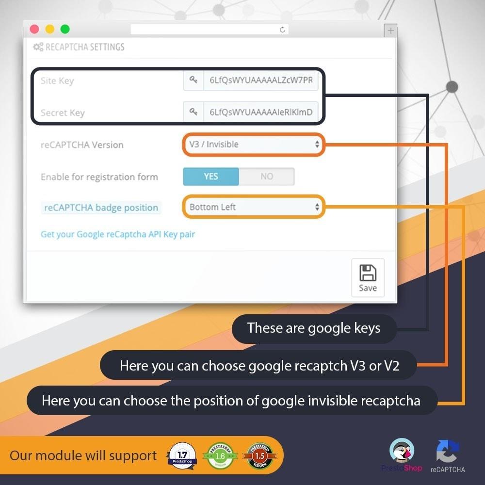 module - Security & Access - Invisible Google re CAPTCHA v3 + Block Spam Customer - 3