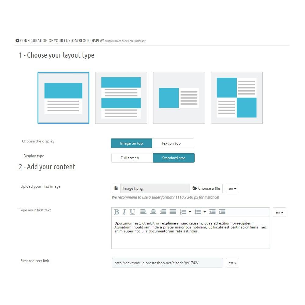 module - Bloki, Zakładki & Banery - Niestandardowy blok obrazu na stronie głównej - 3
