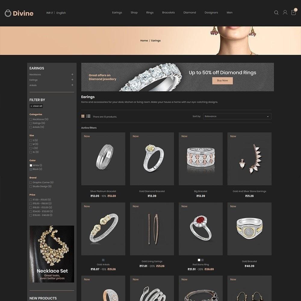 theme - Biżuteria & Akcesoria - Biżuteria Diamond Gold Silver - Luxury Store - 3