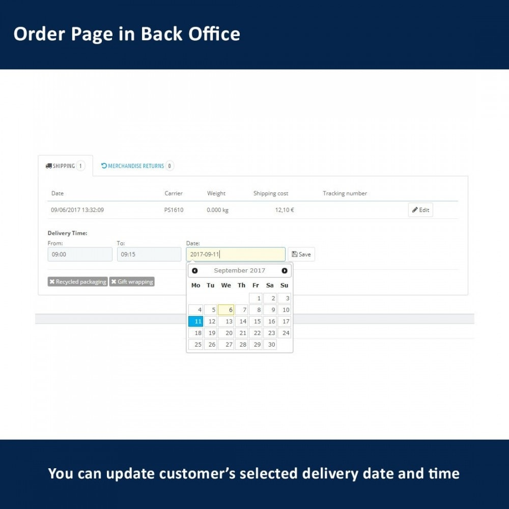 module - Delivery Date - Delivery Time and Date - 15