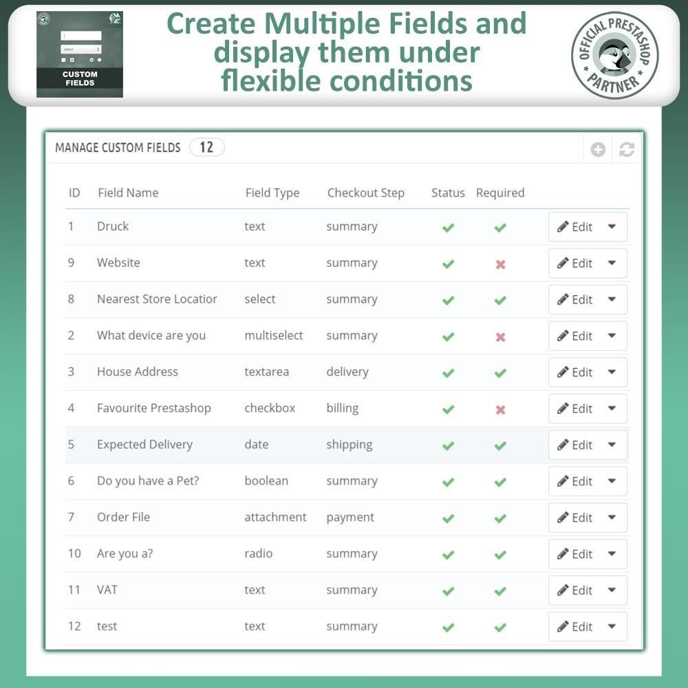 module - Cadastro e Processo de Pedido - Checkout Fields, Add Custom Fields to Checkout & Order - 9