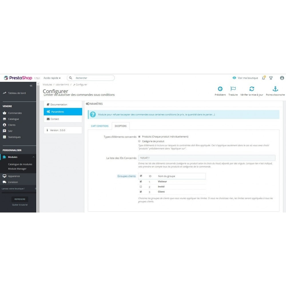 module - Inscription & Processus de commande - Limiter ou autoriser des commandes sous conditions - 1