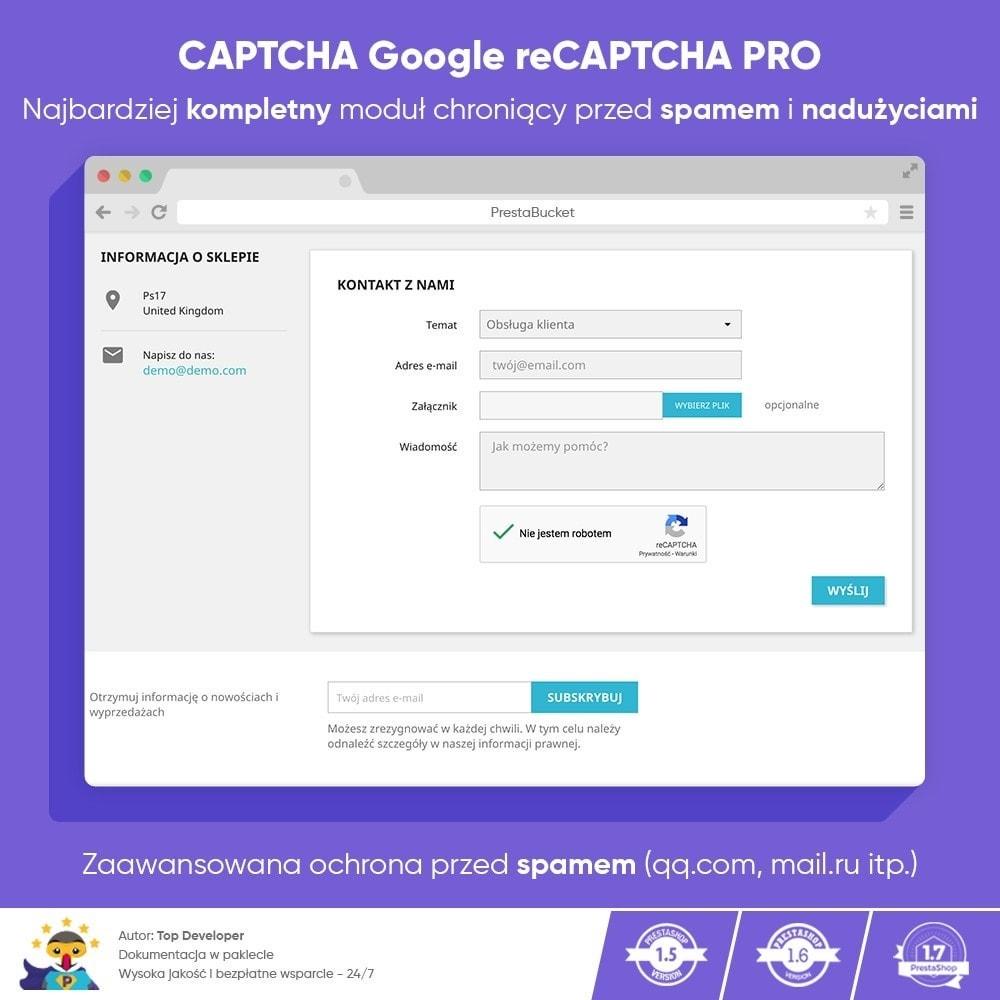module - Bezpieczeństwa & Dostępu - CAPTCHA Google reCAPTCHA PRO + anty Fałszywe Konta - 1