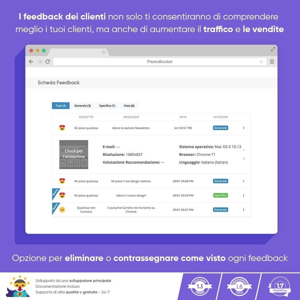 module - Recensioni clienti - FEEDBACK cliente - Raccogliere Informazioni Vitali - 6