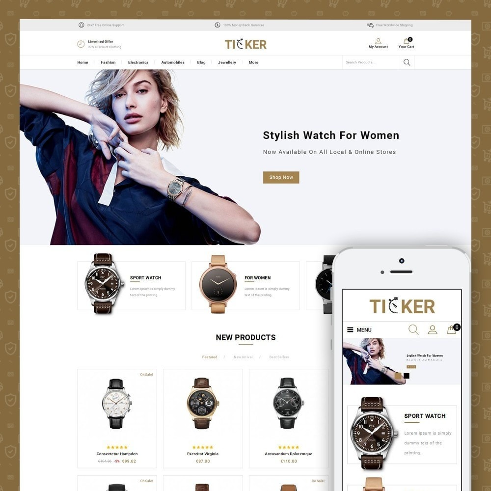 theme - Biżuteria & Akcesoria - Ticker - Watch Store - 1