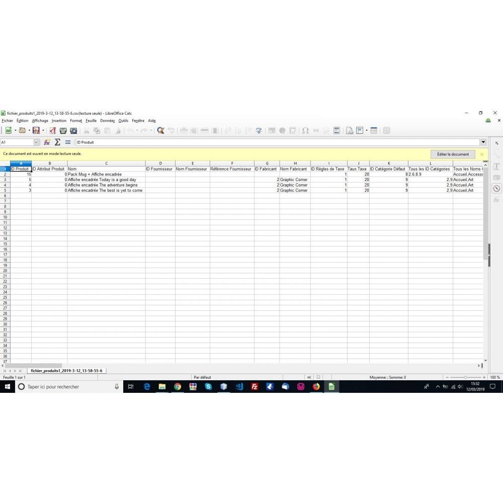 module - Import & Export de données - Export produits aux formats CSV, XLSX, JSON ou XML - 5