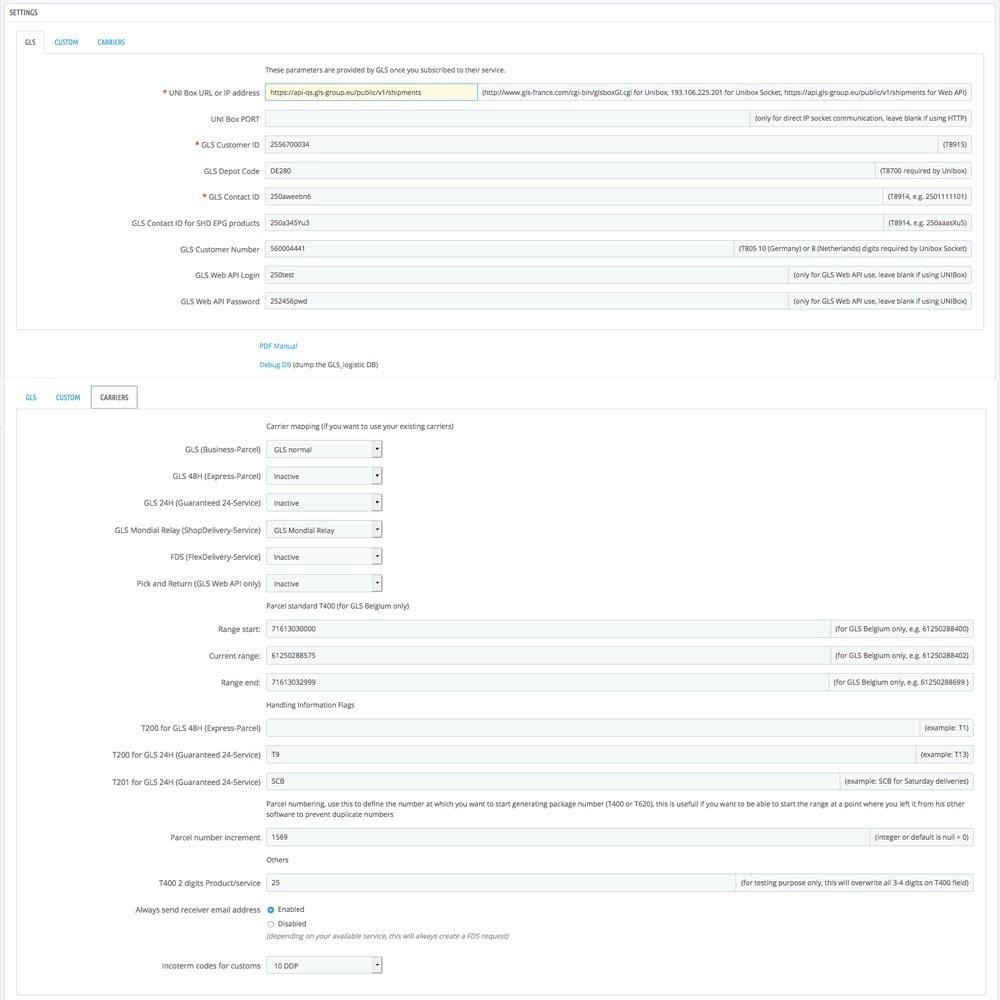 module - Preparação & Remessa - StickerGLS - 2