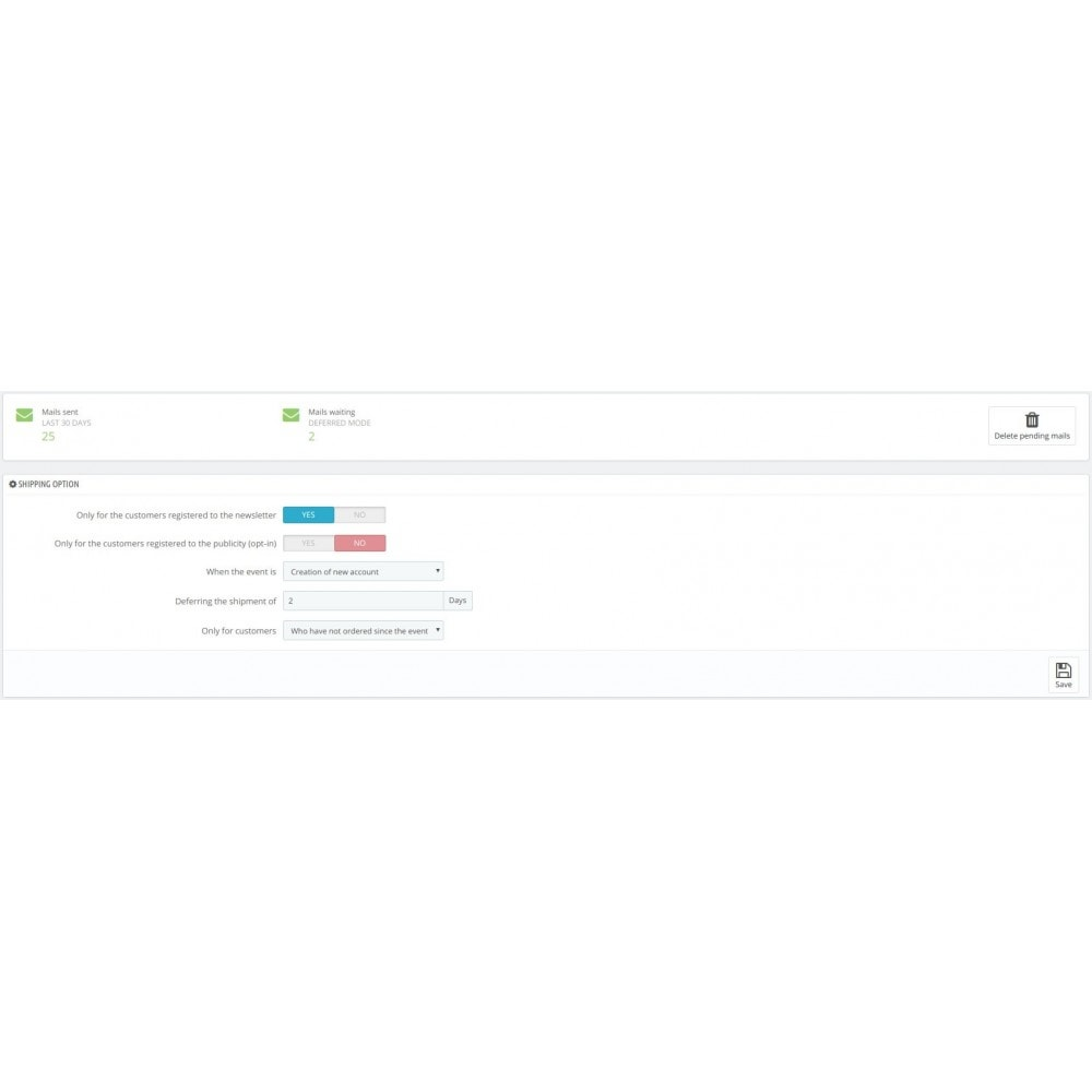 module - электронные письма и уведомления - Automatic send mail customer - 1