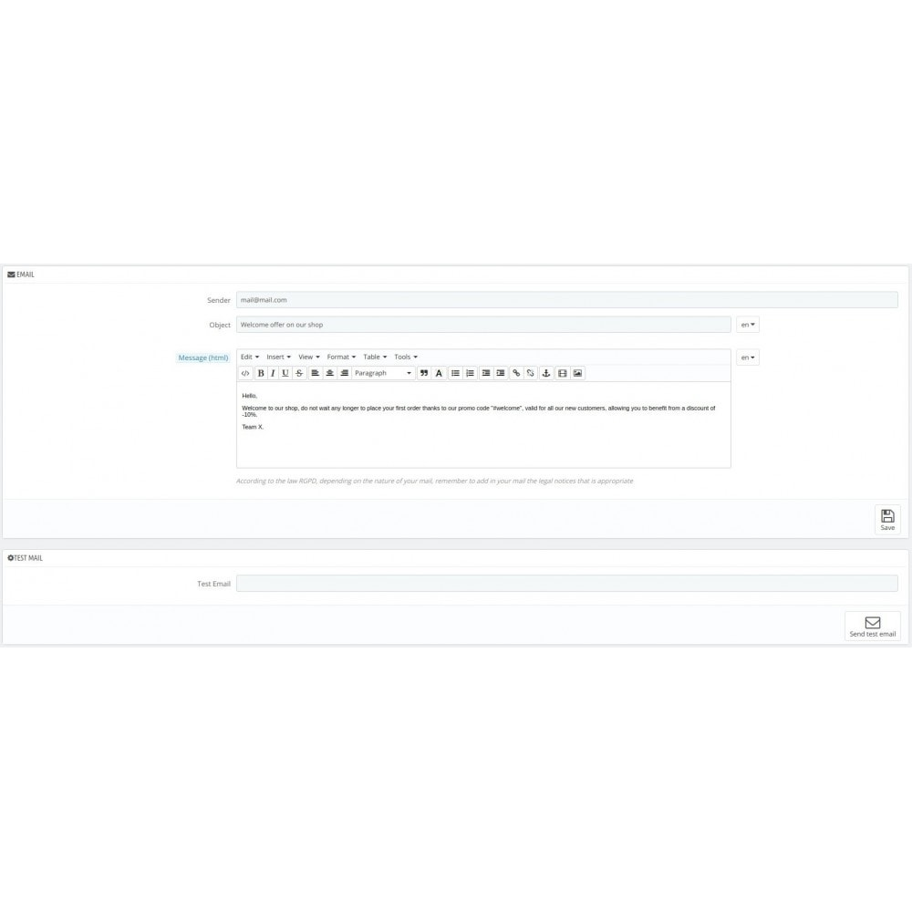 module - электронные письма и уведомления - Automatic send mail customer - 2