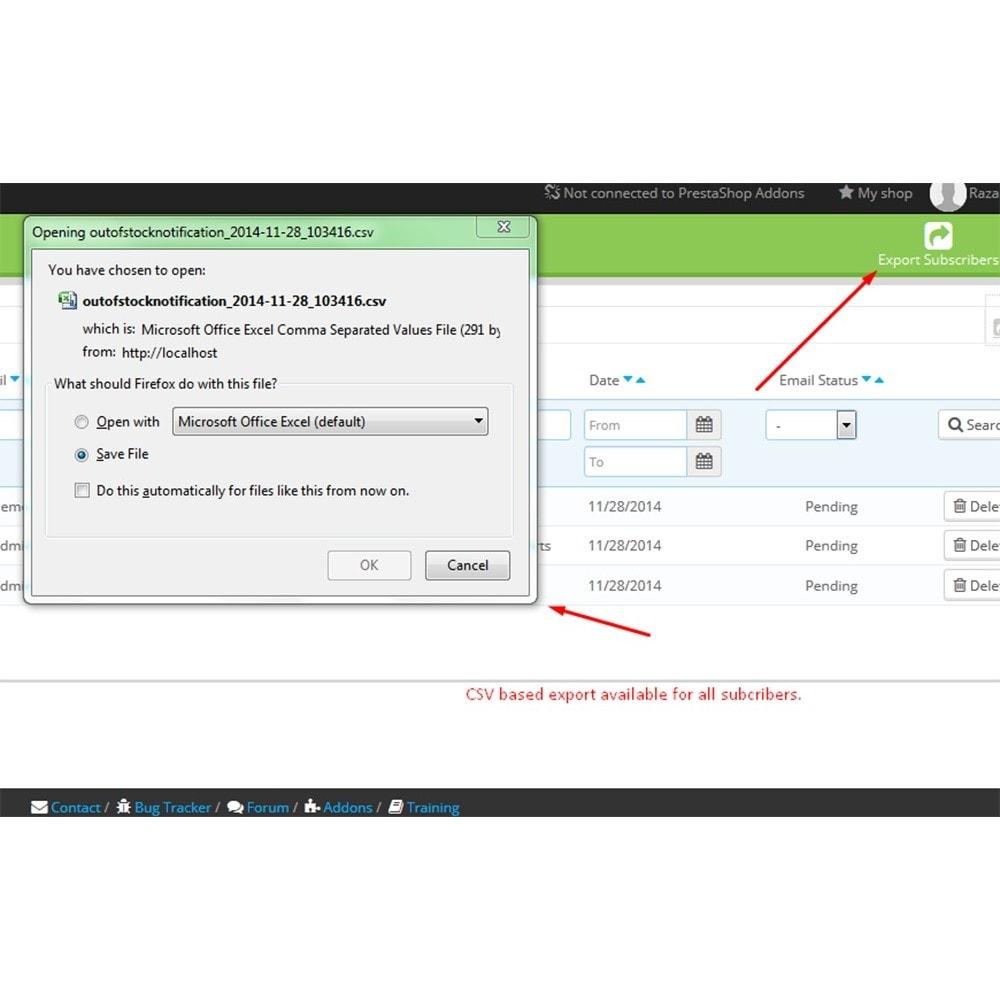 module - E-mails & Notícias - Notificação de falta de estoque - 9