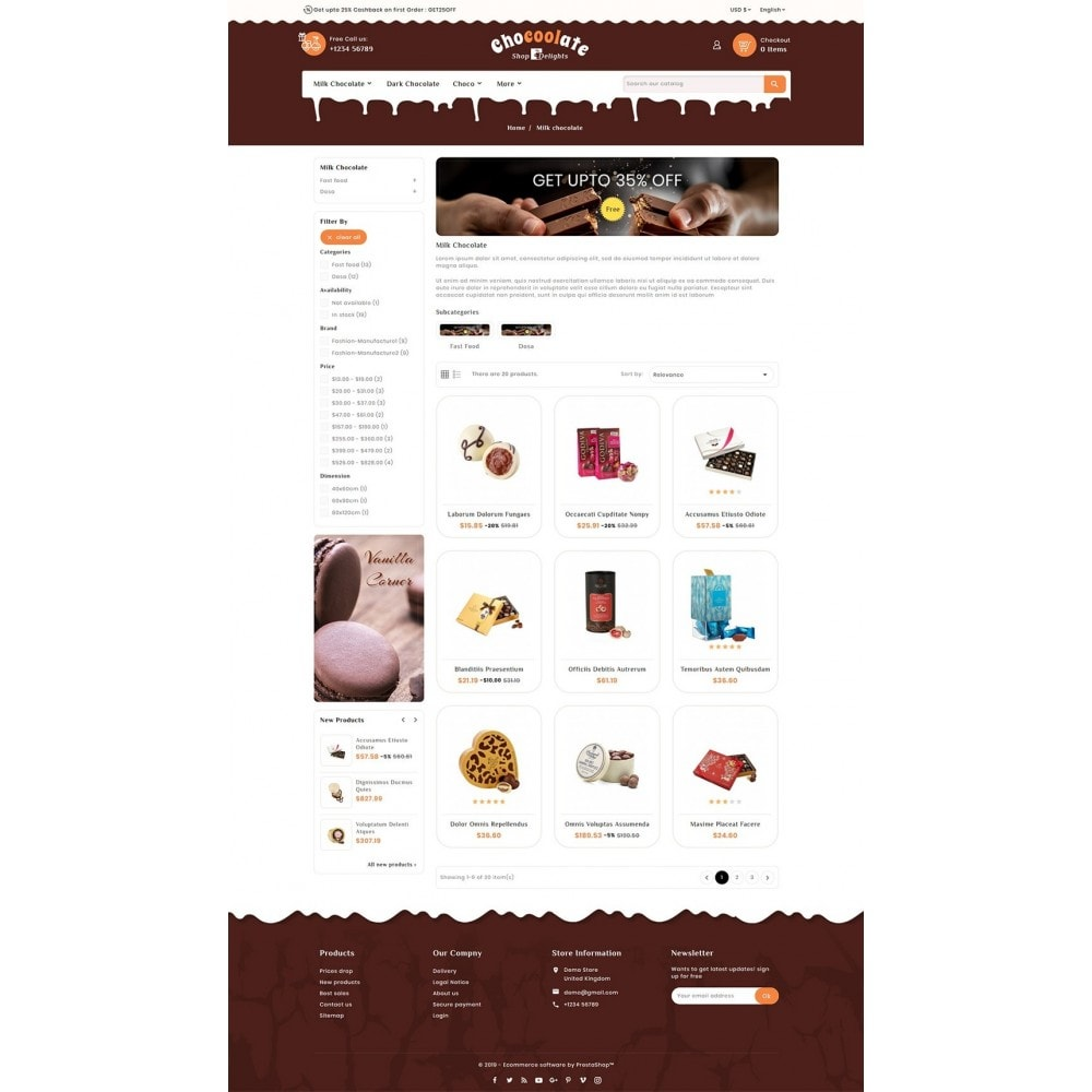 theme - Presentes, Flores & Comemorações - Chocolate - Delights & Dairy Shop - 3