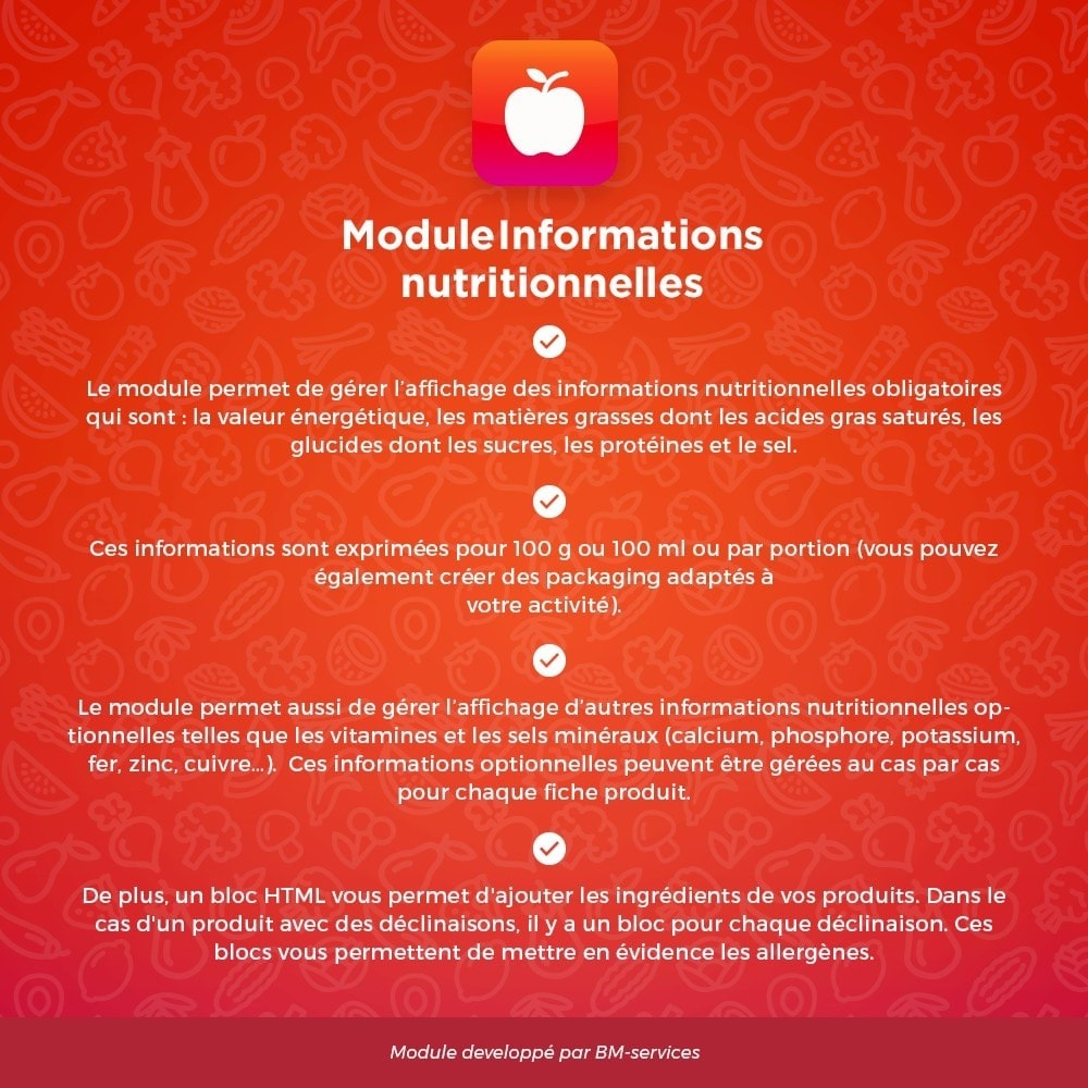 module - Alimentation & Restaurants - Informations nutritionnelles, ingrédients et labels - 1