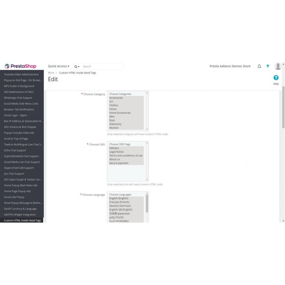 module - SEO (référencement naturel) - HTML, CSS, JS personnalisés sur les pages sélectionnées - 3