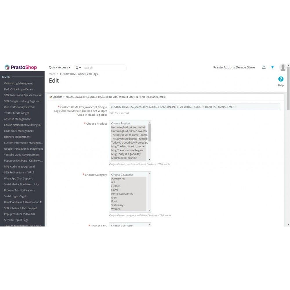 module - SEO (référencement naturel) - HTML, CSS, JS personnalisés sur les pages sélectionnées - 4