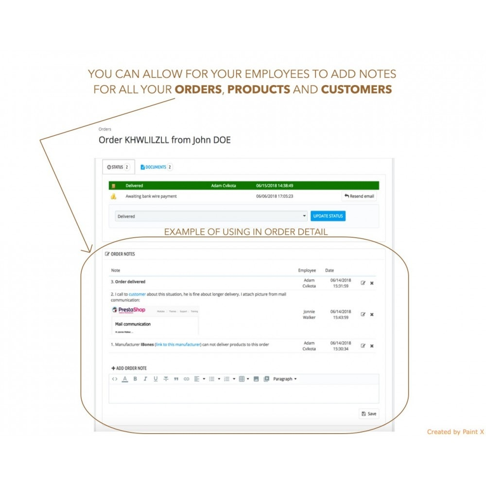 module - Anmeldung und Bestellvorgang - Erweiterte Anmerkung für Bestellung, Produkt und Kunde - 1