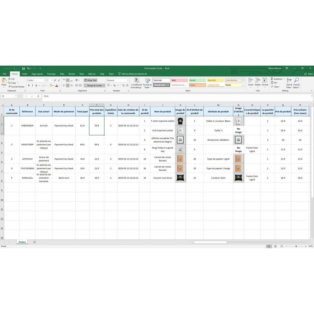 module - Import & Export de données - Exportation de Commandes Pro (Excel, CSV, XML, PDF) - 9