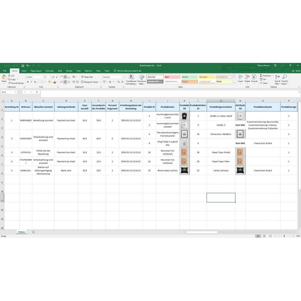 module - Daten Im-&Export - Bestellungen Export Pro (Excel, CSV, XML, PDF) - 9