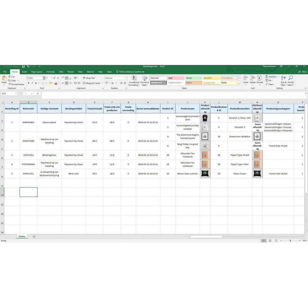 module - Importeren en Exporteren van data - Bestellingen Export Pro (Excel, CSV, XML, PDF) - 9
