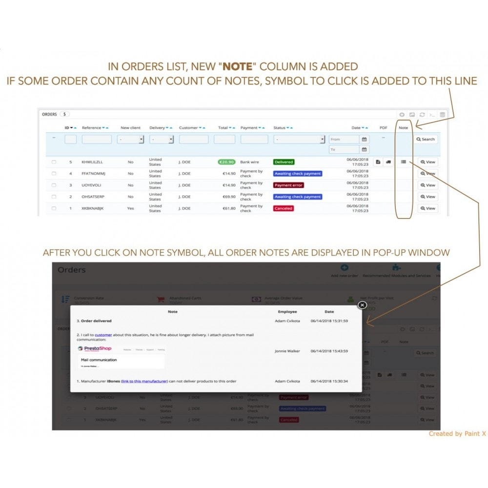 module - Inscripción y Proceso del pedido - Las notas para pedidos, productos y clientes - 3