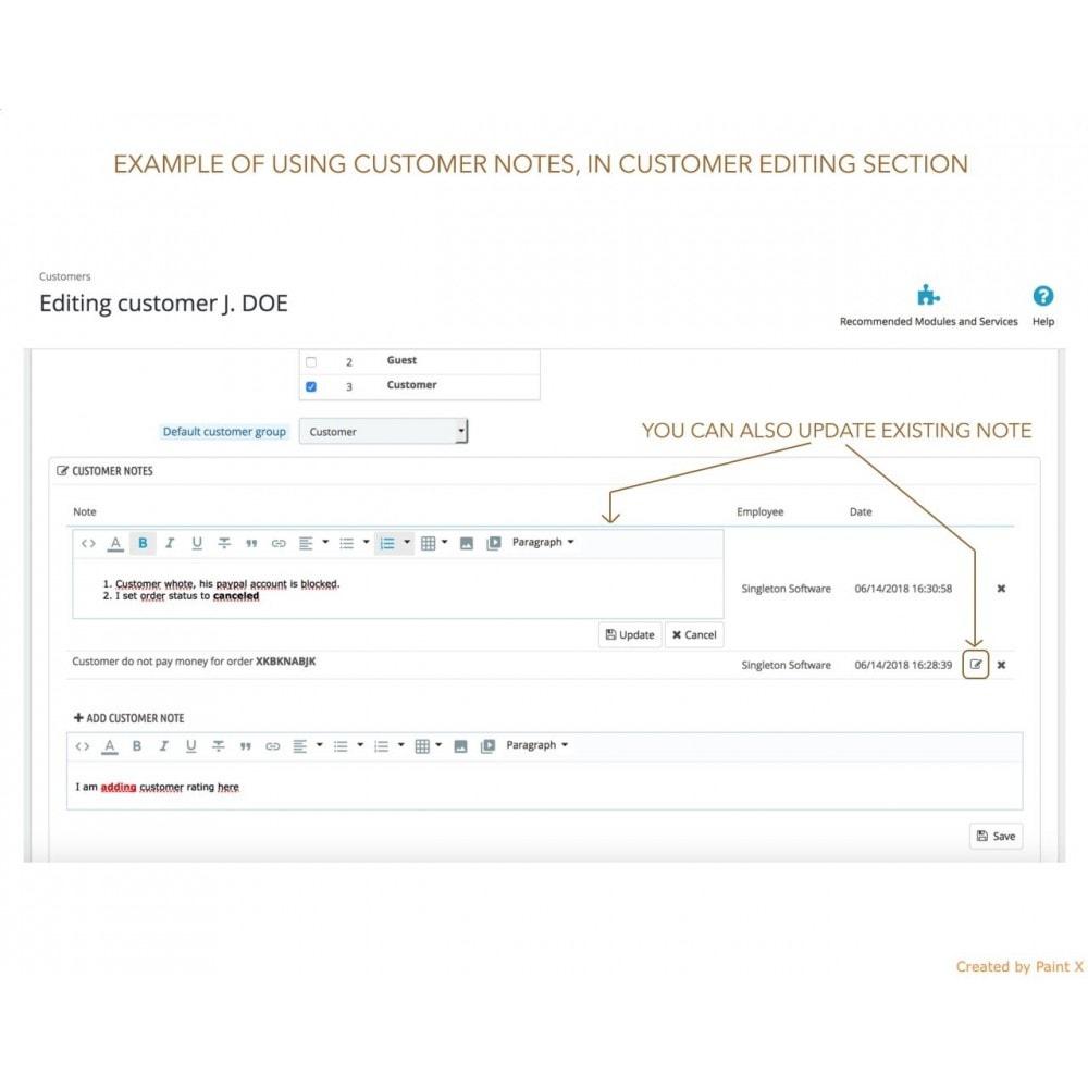 module - Inscripción y Proceso del pedido - Las notas para pedidos, productos y clientes - 5