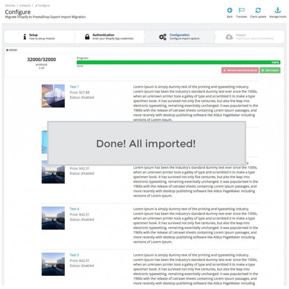 module - Migração de Dados & Registro - Shopify to PrestaShop Catalog Synchronization & Import - 7