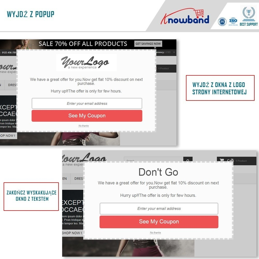 module - Remarketing & Opuszczone koszyki - Knowband - Exit Popup (Email Subscription) pop up - 2