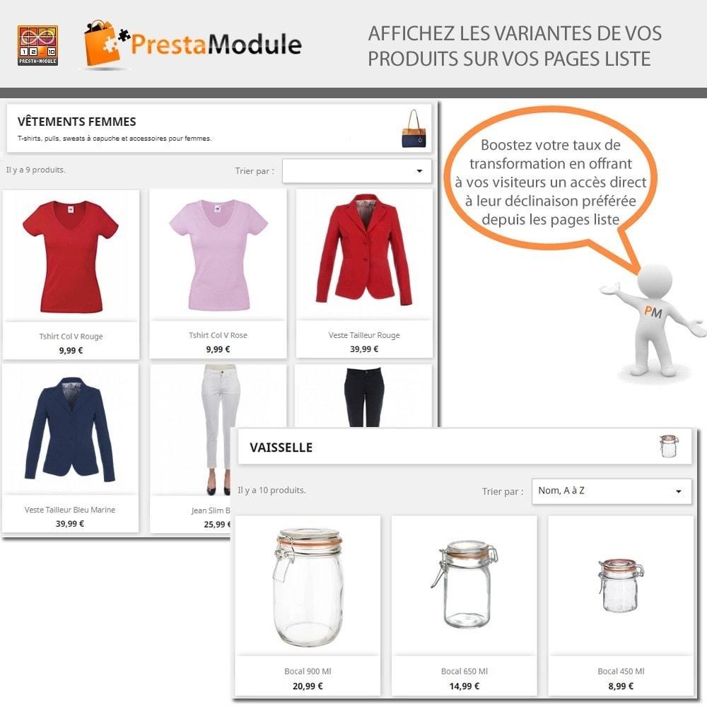 module - Déclinaisons & Personnalisation de produits - Products by Attributes: Afficher déclinaisons-attributs - 1