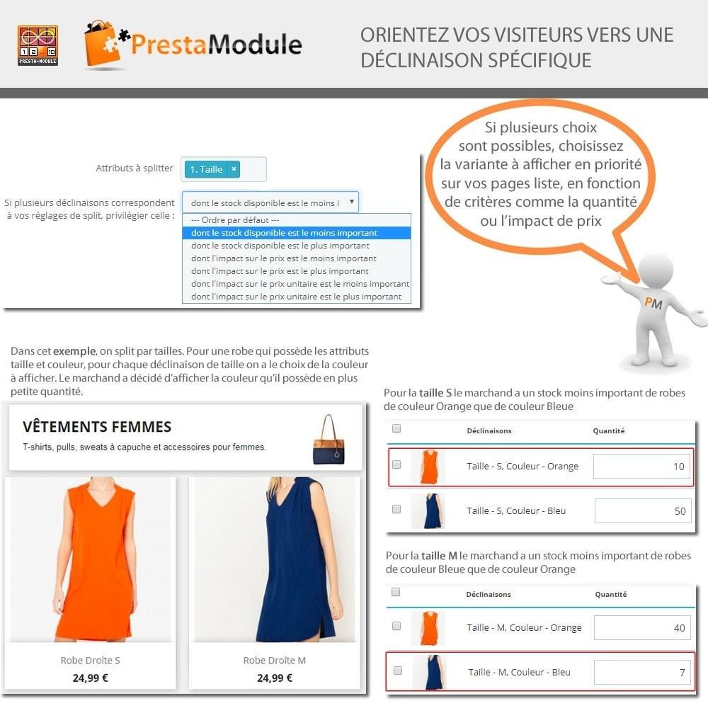 module - Déclinaisons & Personnalisation de produits - Products by Attributes: Afficher déclinaisons-attributs - 6