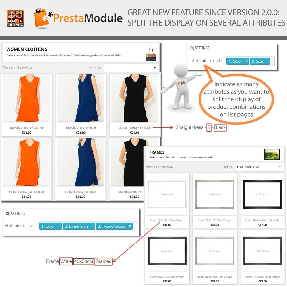 module - Combinations & Product Customization - Products by Attributes: Display combinations-attributes - 2