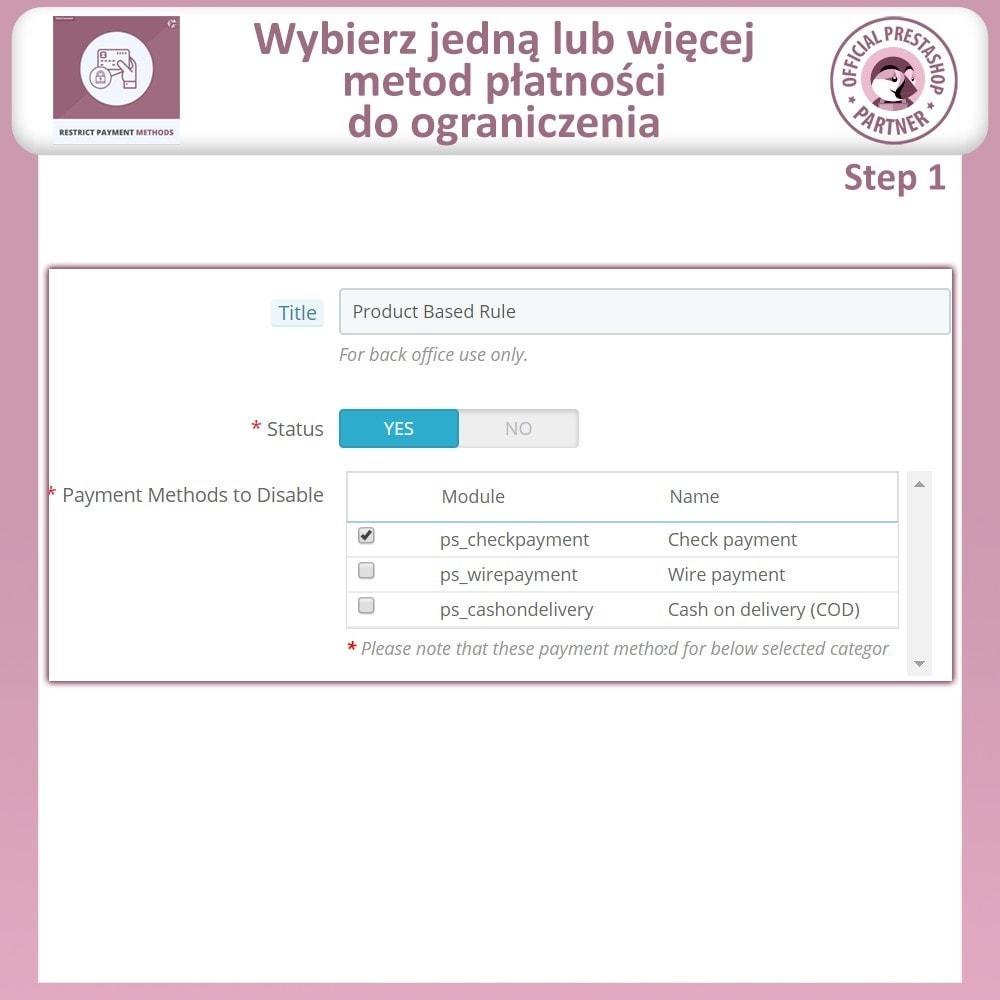 module - Inne środki płatności - Ograniczania Metod Płatności - 6