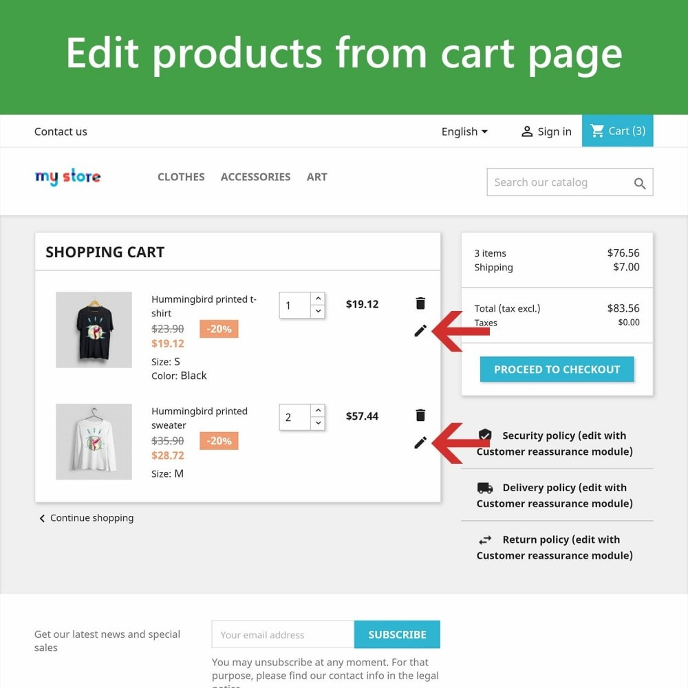 module - Deklinacje & Personalizacja produktów - Edit Products in Cart - 2