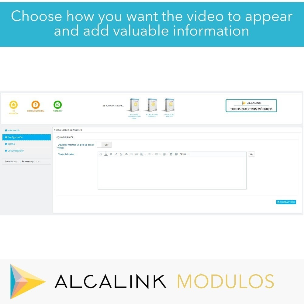module - Wideo & Muzyka - Video in Product Sheet - Youtube, Dailymotion... - 2