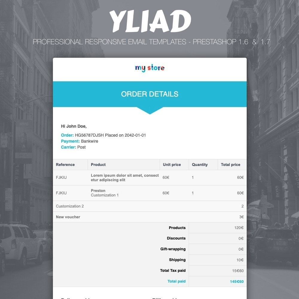 email - Email templates PrestaShop - Yliad - Professional and responsive email templates - 1