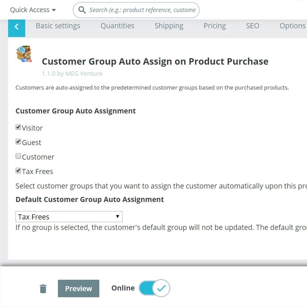 module - Customer Administration - Customer Group Auto-Assignment upon Product Purchase - 1