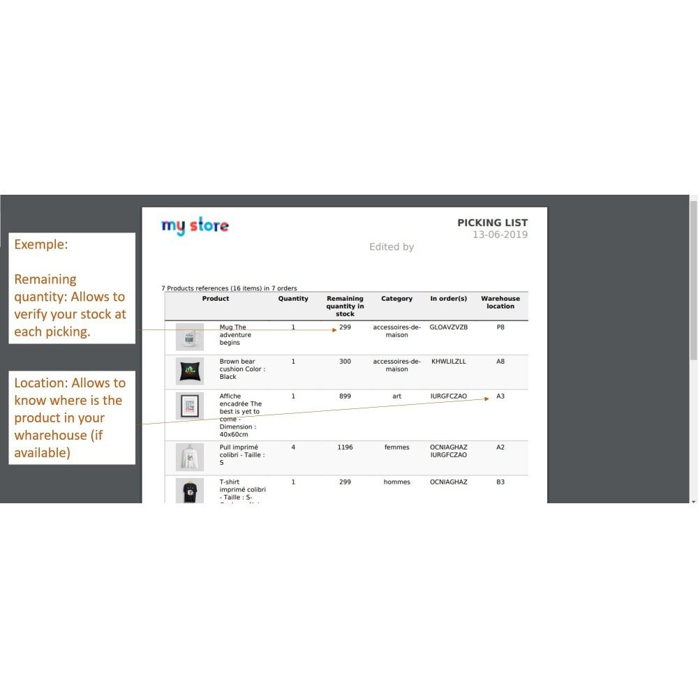 module - Kommissionierung & Versand - Picking list - list of product to be shipped - 8
