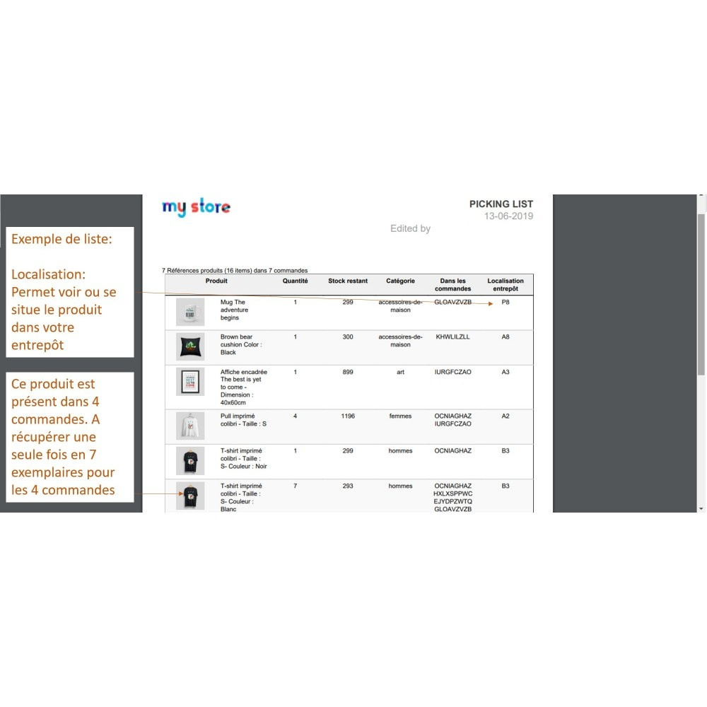 module - Préparation & Expédition - Picking list - liste des produits à expédier - 9