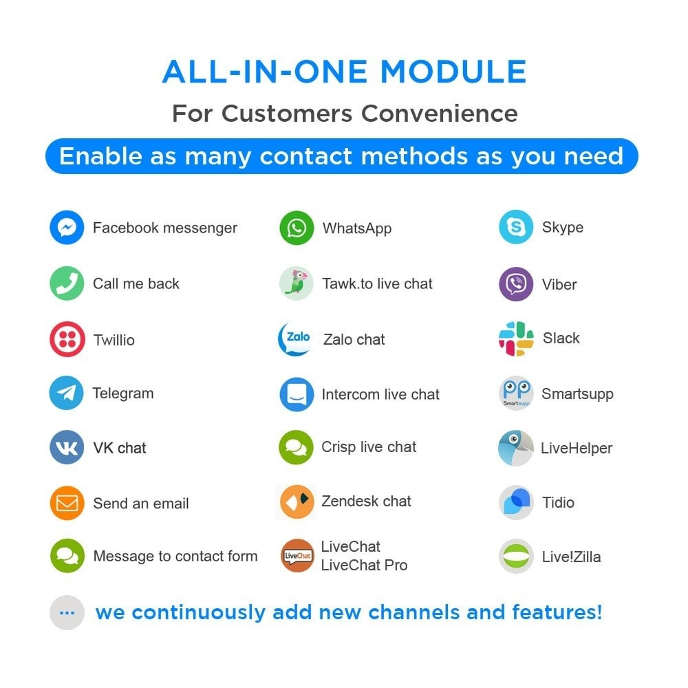 module - Asistencia & Chat online - All-in-One - Live Chat, WhatsApp, Call Back, Messenger - 1