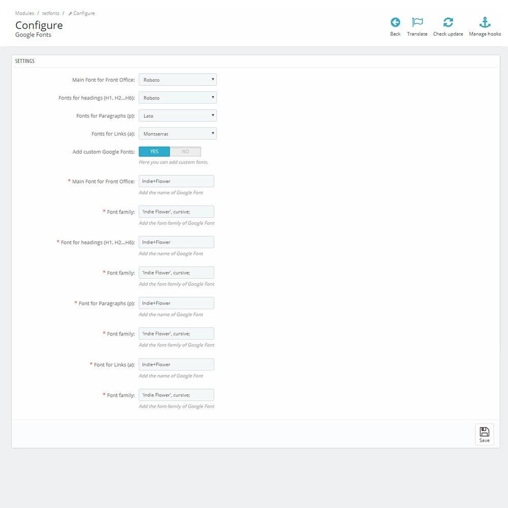 module - Personalización de la página - Google Fonts - 5