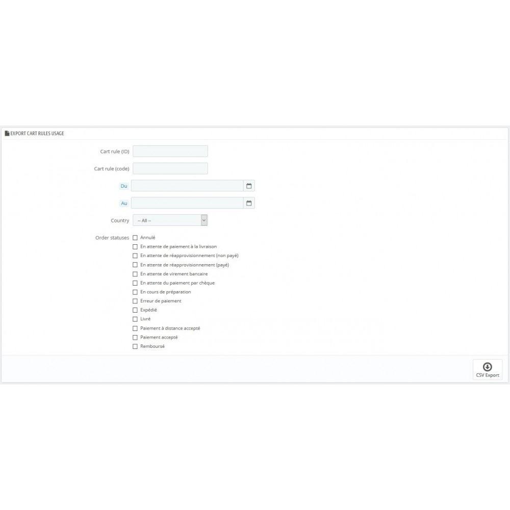 module - Import & Export de données - Exporter commandes règles paniers codes promos CSV - 1