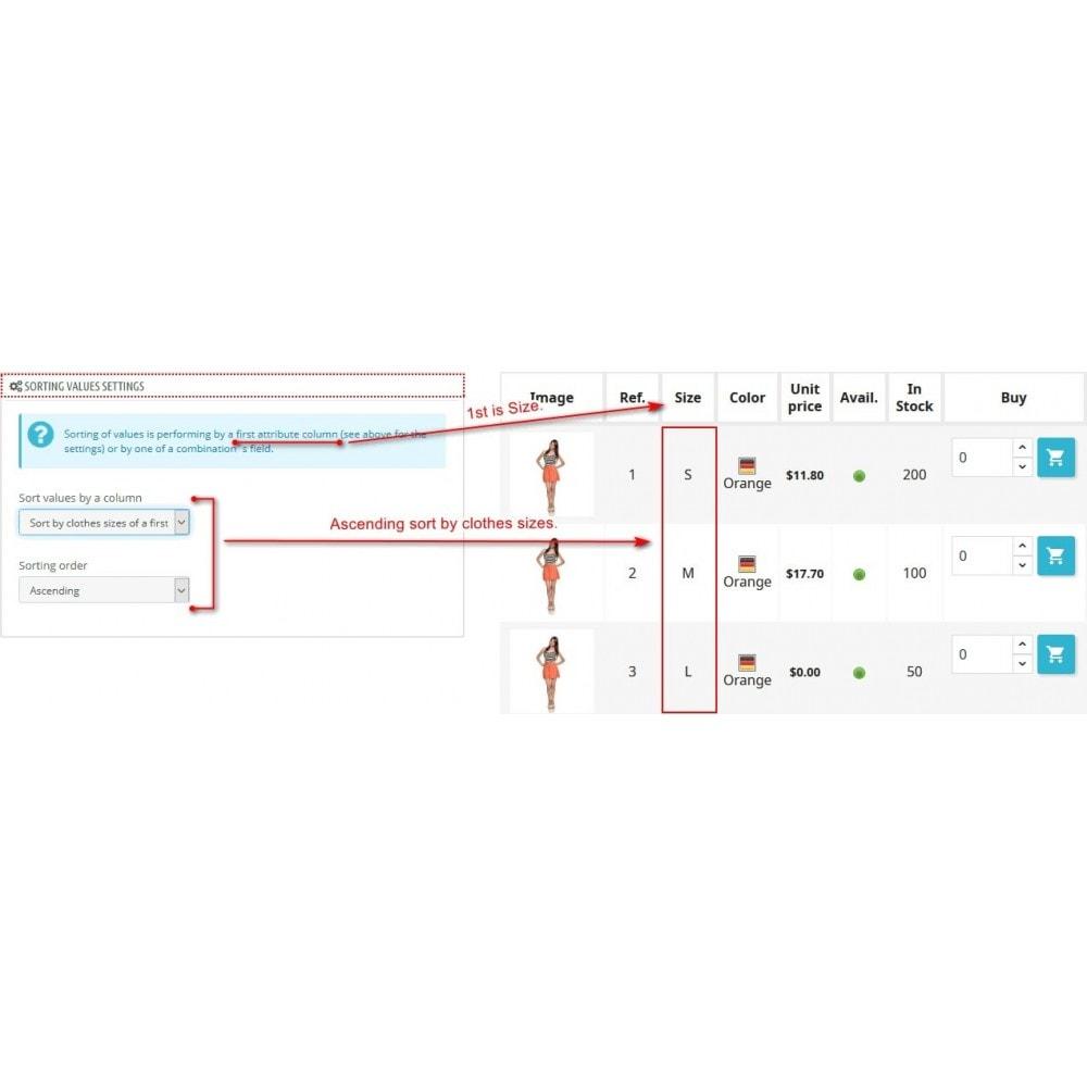 module - Déclinaisons & Personnalisation de produits - Viewing product combinations in a table - 9