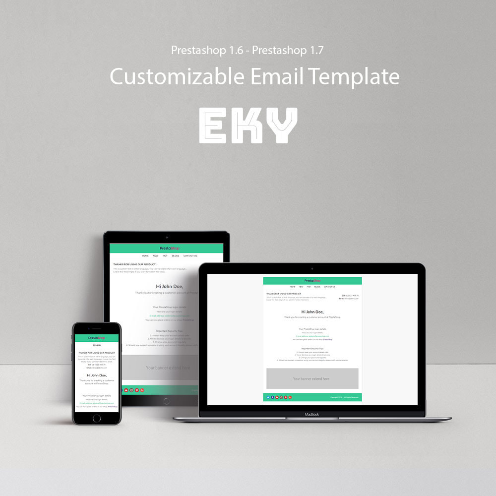 email - Email templates PrestaShop - Eky - Templaste for emails and for emails of modules - 1