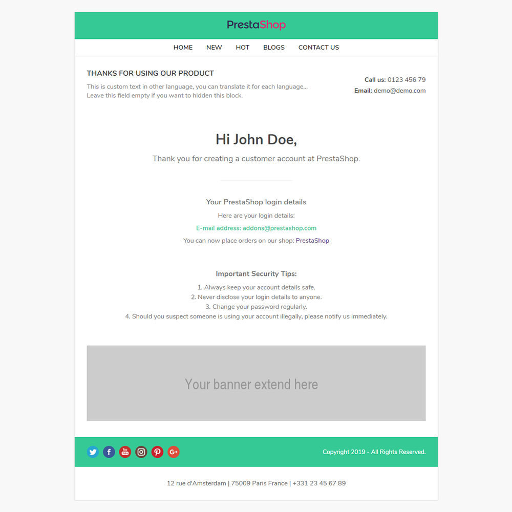 email - Plantillas de correos electrónicos PrestaShop - One for All - Template emails and for emails of modules - 7