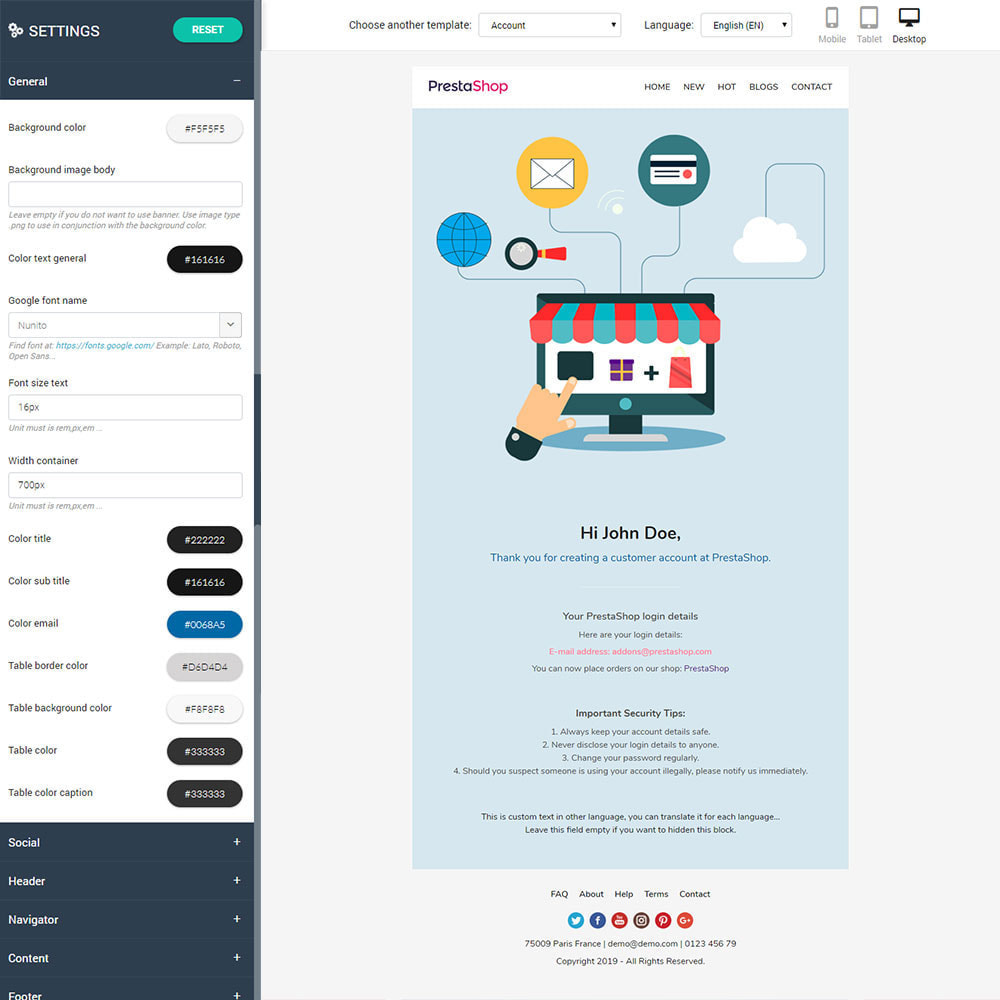 email - Modelos de e-mails da PrestaShop - Shopping - Template emails and for emails of module - 2